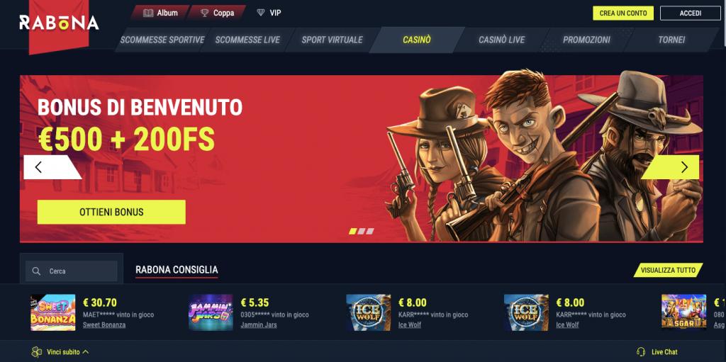 rabona casino homepage